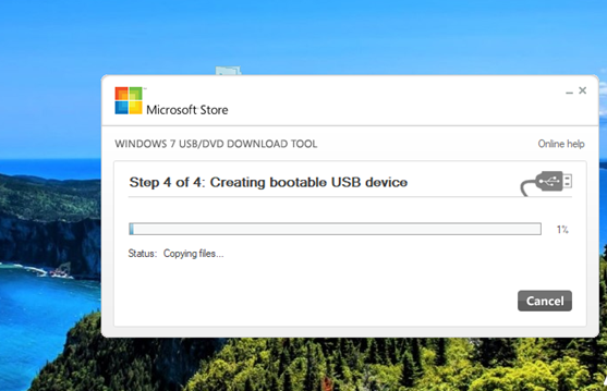 cài đặt Windows USB/DVD Download Tool